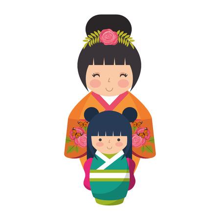 cute kokeshi dolls japanese traditional vector illustration Ilustração