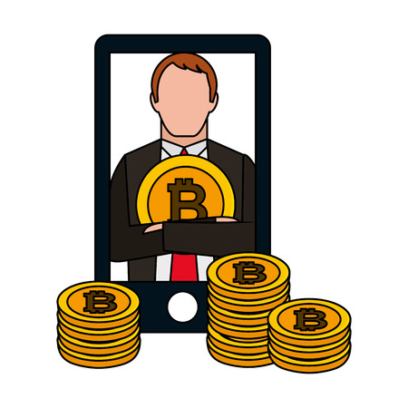 businesswoman and mobile bitcoin cryptocurrency fintech vector illustration vector illustration Ilustracja