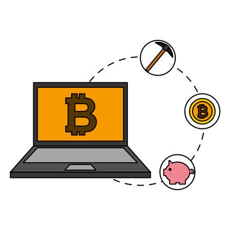 laptop mining piggy bank bitcoin cryptocurrency fintech vector illustration vector illustration Stockfoto - 111842000