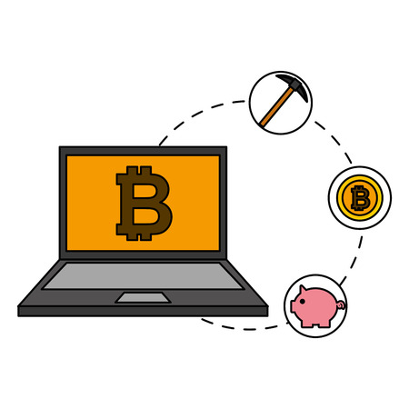 laptop mining piggy bank bitcoin cryptocurrency fintech vector illustration vector illustration Illustration