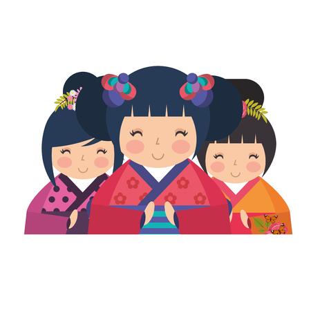 cute kokeshi dolls kimono traditional vector illustration Ilustração