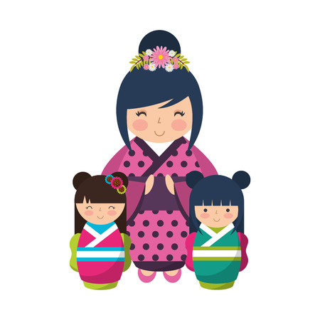 cute geisha and mini kokeshi dolls vector illustration