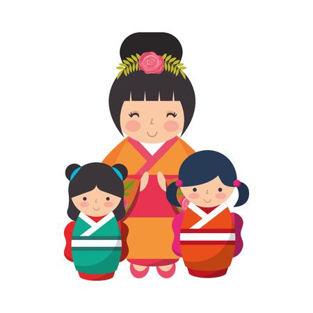 cute geisha and mini kokeshi dolls vector illustration Stok Fotoğraf - 111842003