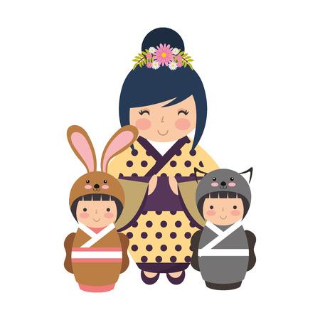 cute geisha and mini kokeshi dolls vector illustration Stok Fotoğraf - 111843267
