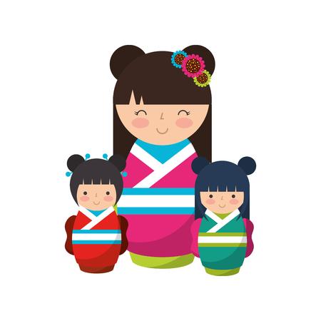 cute geisha and mini kokeshi dolls vector illustration Stok Fotoğraf - 111843268
