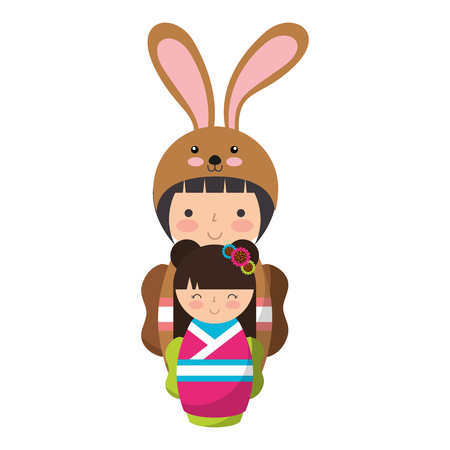 cute kokeshi dolls with costume culture vector illustration