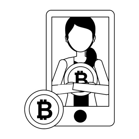 businesswoman and mobile bitcoin cryptocurrency fintech vector illustration vector illustration Stock Illustratie