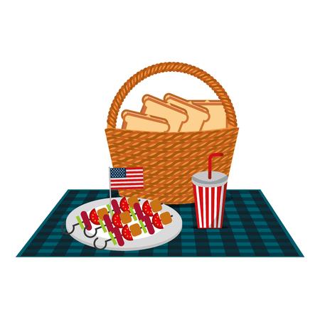 wicker basket sandwichs and kebabs american flag and blanket vector illustration