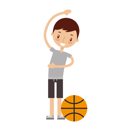 boy training with ball good habits vector illustration