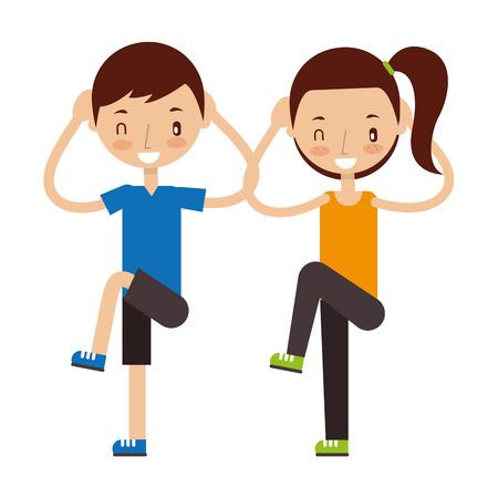 niño y niña haciendo ejercicios buenos hábitos ilustración vectorial Ilustración de vector