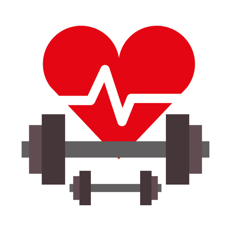 heartbeat and dumbbells weight healthy life vector illustration