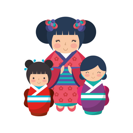 cute geisha and mini kokeshi dolls vector illustration