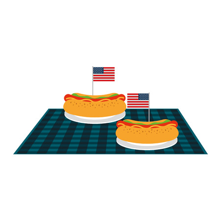 picnic hot dogs with american flag on blanket vector illustration