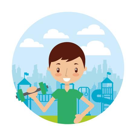 boy training in the park good habits vector illustration