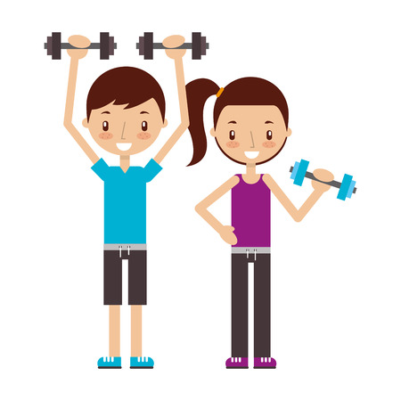 boy and girl training with dummbells good habits  vector illustration Banque d'images - 111843276