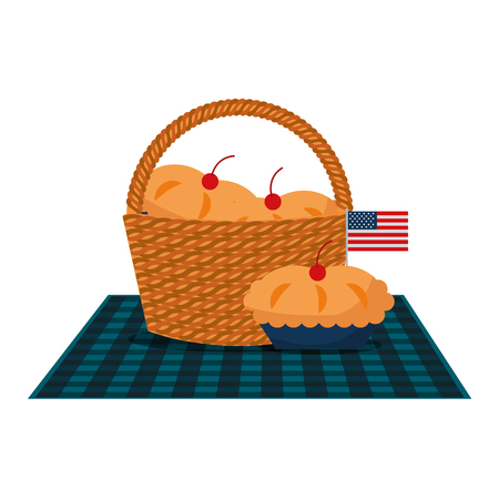 wicker basket cakes and american flag vector illustration
