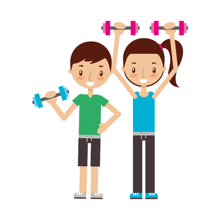 Garçon et fille s'entraînant avec des haltères bonnes habitudes vector illustration