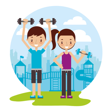 boy and girl training with dummbells good habits  vector illustration Çizim