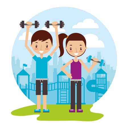 Jungen- und Mädchentraining mit Hanteln gute Gewohnheiten-Vektorillustration