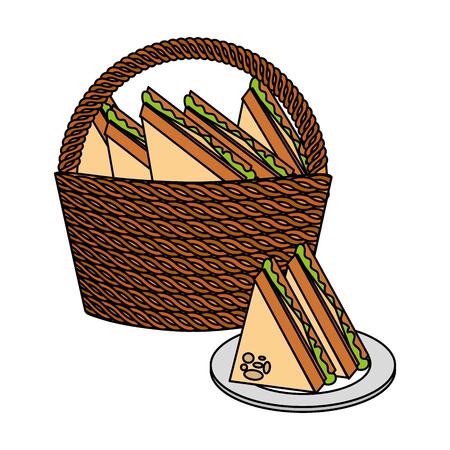 wicker basket sandwiches food picnic vector illustration