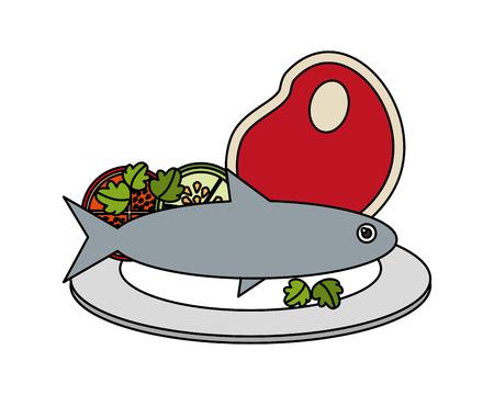 fish meat and tomato food healthy in dish vector illustration Archivio Fotografico - 111836445