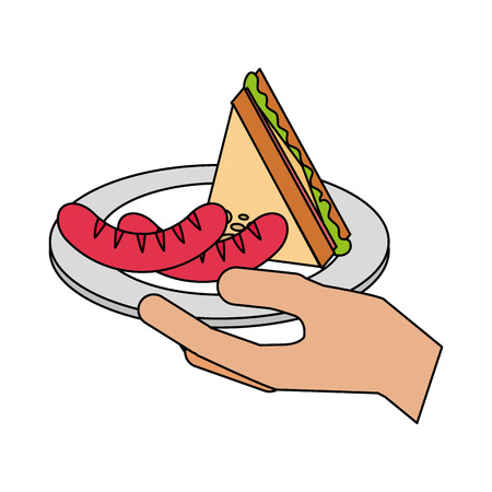 hand holding sausage and sandwich vector illustration