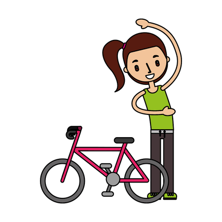 girl with bike good habits vector illustration Illustration