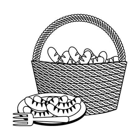 wicker basket sausages food picnic vector illustration