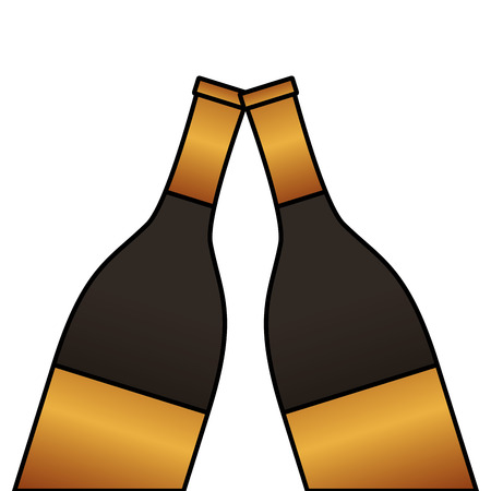 two bottle champagne drink toast vector illustration
