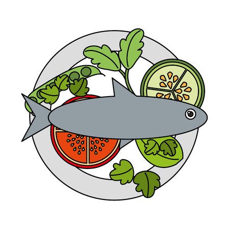 fish tomato cucumber food healthy in dish vector illustration Ilustração