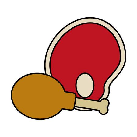 chicken and meat food fresh healthy vector illustration Illusztráció