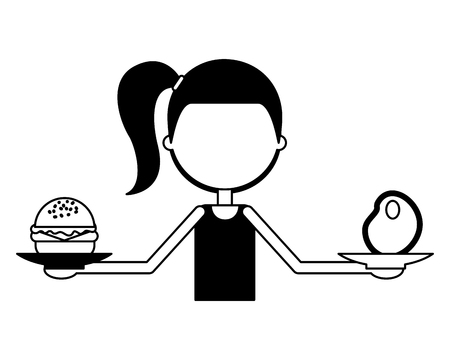 girl holding meat and burger in hands good habits vector illustration 向量圖像
