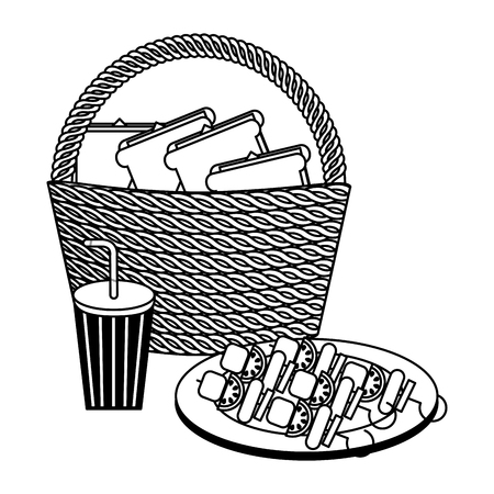 wicker basket sandwichs and kebabs vector illustration Illustration