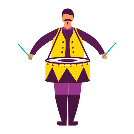 man character with drum circus fun fair vector illustration Reklamní fotografie - 111838760