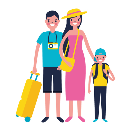 family travelers tourist baggage vacations vector illustration