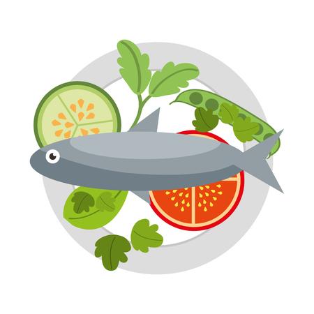 fish tomato cucumber food healthy in dish vector illustration Illustration