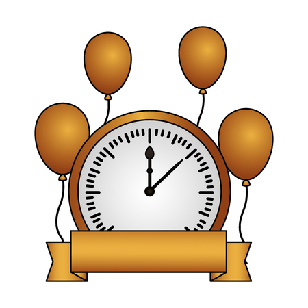 clock balloons ribbon happy new year vector illustration Illusztráció