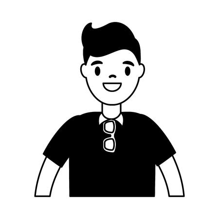 man with suglasses on white background vector illustration Standard-Bild - 111843500