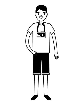 traveler man tourist on white background vector illustration Çizim