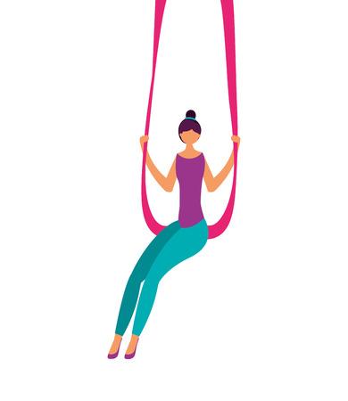 acrobat woman circus fun fair vector illustration