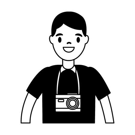 touriste homme voyageur sur fond blanc vector illustration