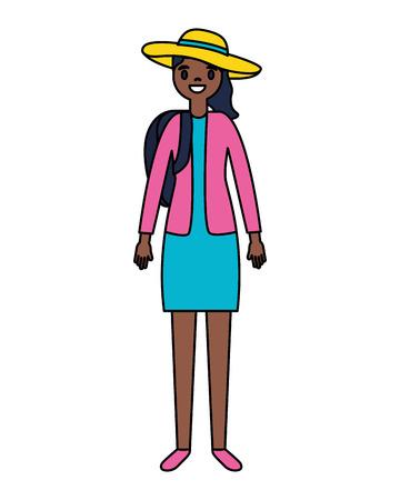 traveler woman tourist on white background vector illustration Standard-Bild - 111840555
