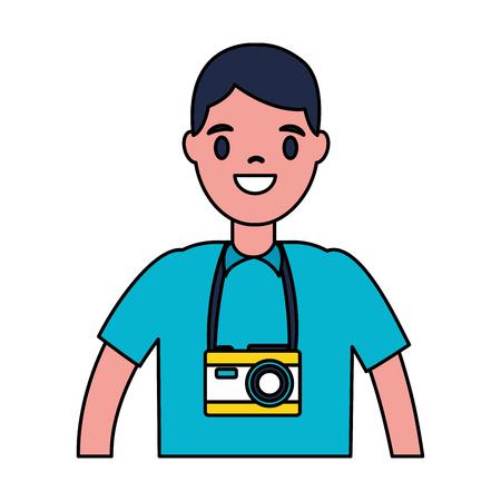 turista hombre viajero en la ilustración de vector de fondo blanco