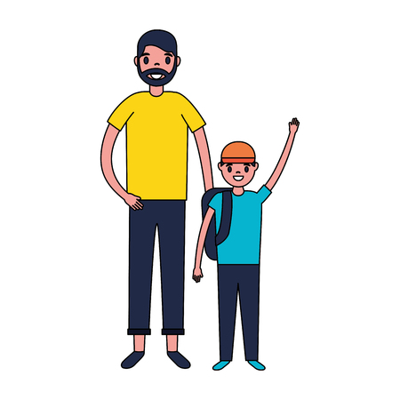 father and son with backpacks vector illustration Ilustração