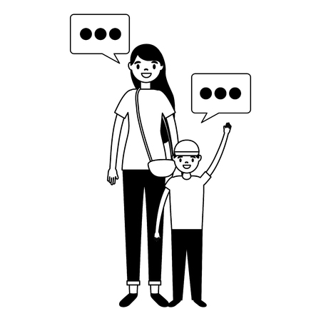 mother and son tourist and speech bubble vector illustration
