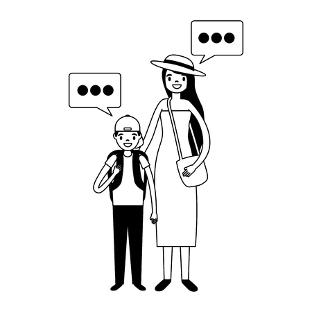 mother and son tourist and speech bubble vector illustration Фото со стока - 127733002