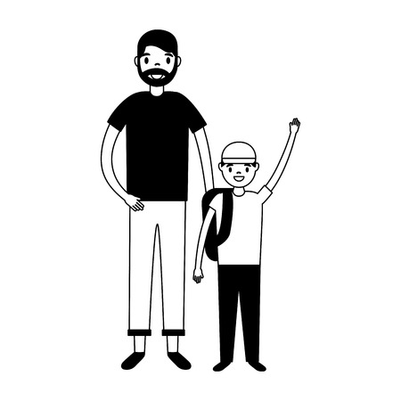 father and son with backpacks vector illustration Illustration