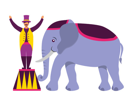 man and elephant circus fun fair vector illustration Ilustracja