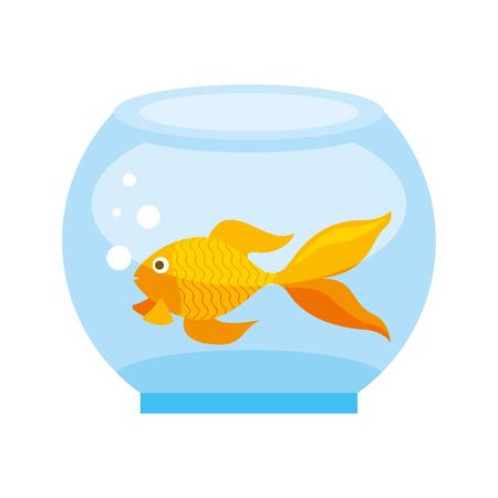 Goldfish en la ilustración de vector de tienda de mascotas de tazón de vidrio Ilustración de vector