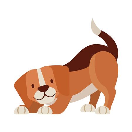 Beagle-Hundehaustier auf weißer Hintergrundvektorillustration Vektorgrafik